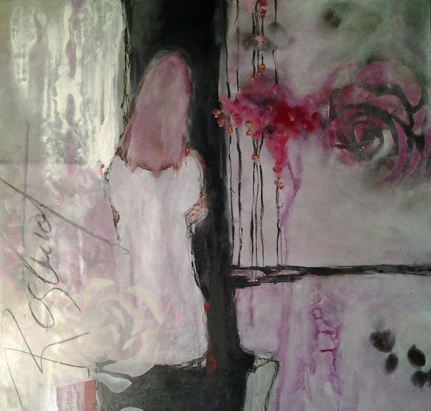 Frau, Abstrakte malerei, Mixed media, Rose, Blumen, Rot