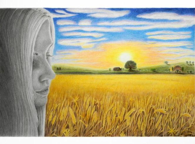 Bleistiftzeichnung, Zeichnung, Buntstiftzeichnung, Landschaft, Fields of gold, Coloredpencil