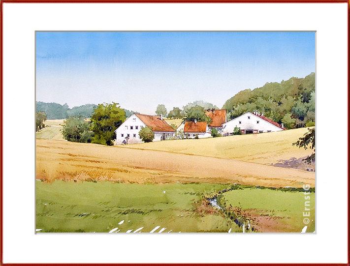 Sommer, Getreide, Kattaleich, Aquarell
