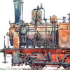 Dampflokomotive, Rangierlok, Aquarell,