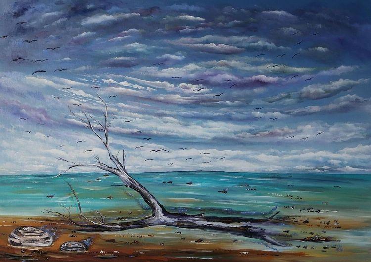 Strand, Meer, Ostsee, Wolken, Malerei, Gemälde
