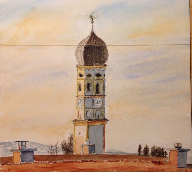 Morgen, Hohenbrunn, Stephanus, Kirche, Morgengrauen, Aquarell