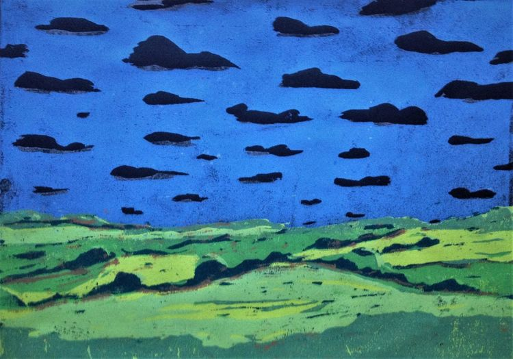 Schwarz, Wolken, Grün, Druckgrafik, Landschaft