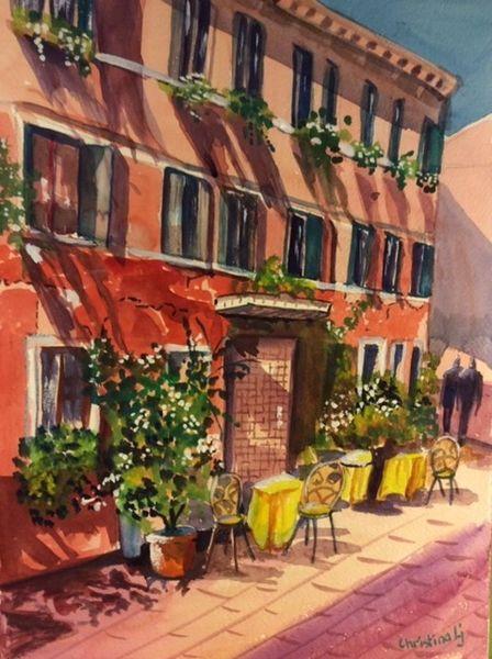 Venedig, Italien, Café, Aquarell