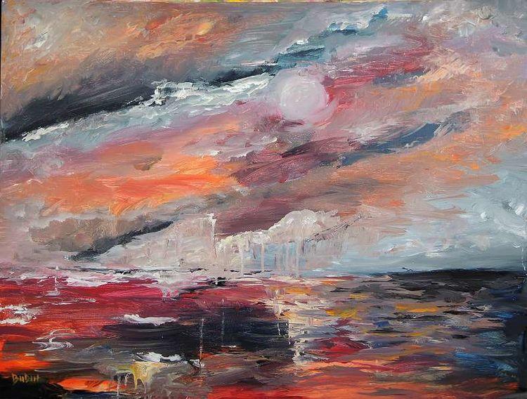 Meer, Wasser, Farben, Wild, Abstrakt, Malen
