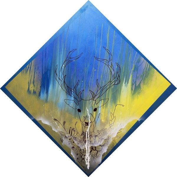 Rotwild, Tuschmalerei, Blau, Gelb, Sprühdose, Mischtechnik