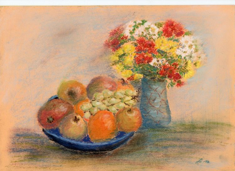 Obstschale, Vase, Blumenstrauß, Herbst, Pastellmalerei, Malerei