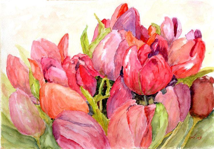 Strauß, Blumenstrauß, Farben, Tulpen, Bunt, Frühling