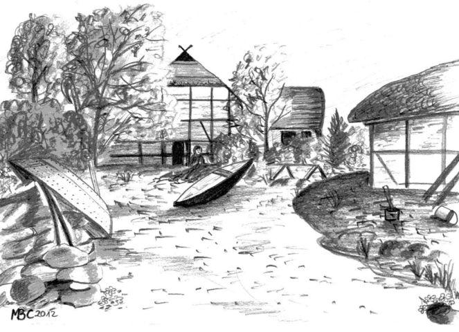 Bleistiftzeichnung, Ellerbek, Kiel, Fischerdorf, Fischerhaus, Landschaft