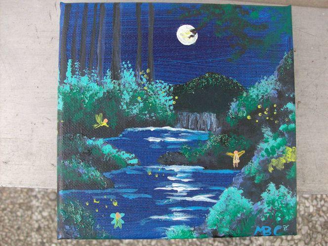 Mondlicht, Nacht, Elfen, Malerei
