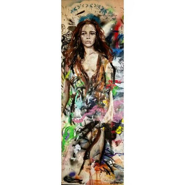 Frau, Acrylmalerei, Körper, Figur, Malerei