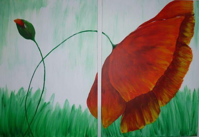 Mohn, Acrylmalerei, Malen, Malerei