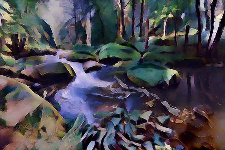 Fantasie, Wasserlauf, Wald, Labyrinth, Herbst, Granit