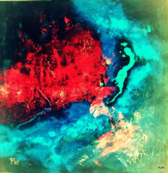 Schwarz, Feuer, Rot, Malerei, Abstrakt