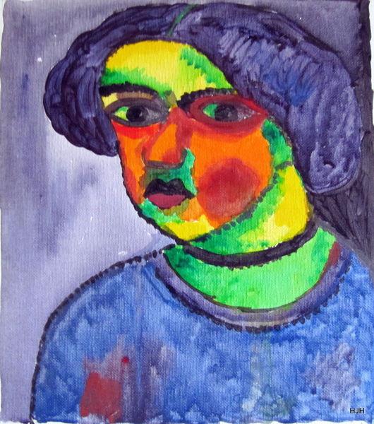 Junge, Haare, Augen, Malerei, Abstrakt