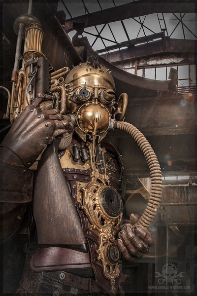 Lost place, Steampunk, Messing, Rüstung, Cosplay, Film