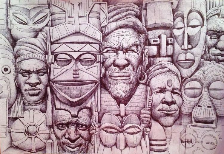 Skizze, Sur, Afro, Wand, Wallpaper, Zeichnungen