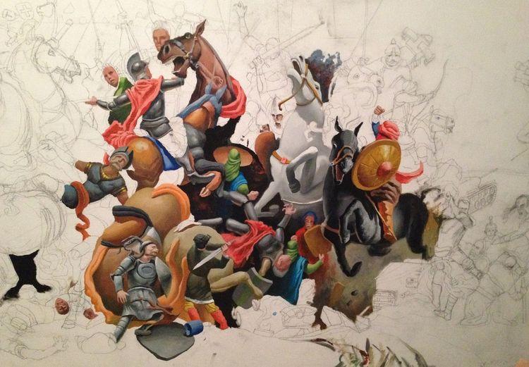 Ölmalerei, Mauer, Schattenspiel, Schlacht, Malerei, Gemälde