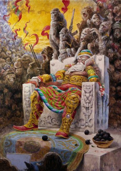 Gemälde, Mauer, Malerei, King,