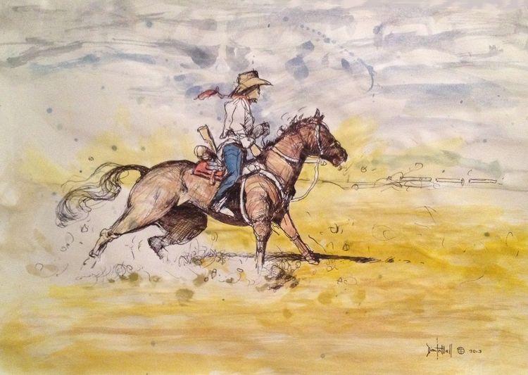 Western, Gemälde, Wand, Skizze, Rodeo, Malerei