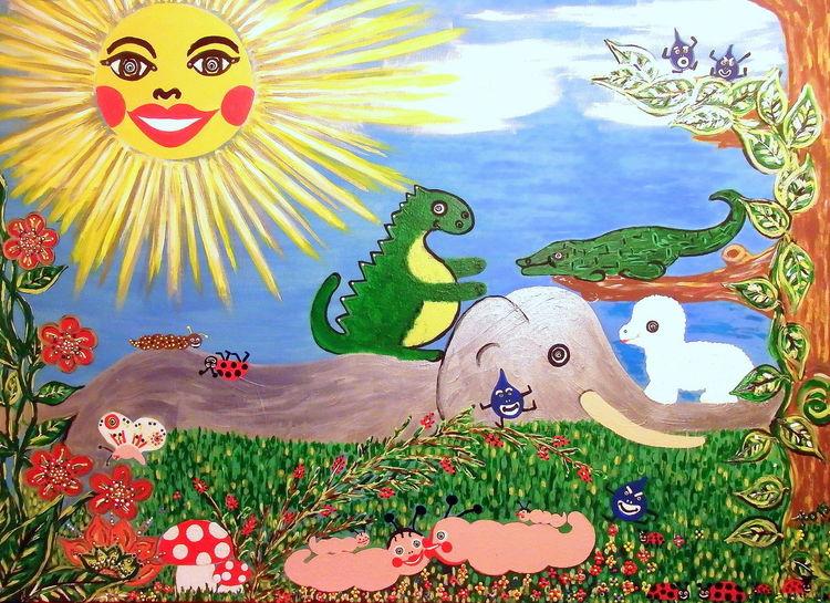 Gras, Tiere, Blumen, Kinder, Sonne, Tropfen