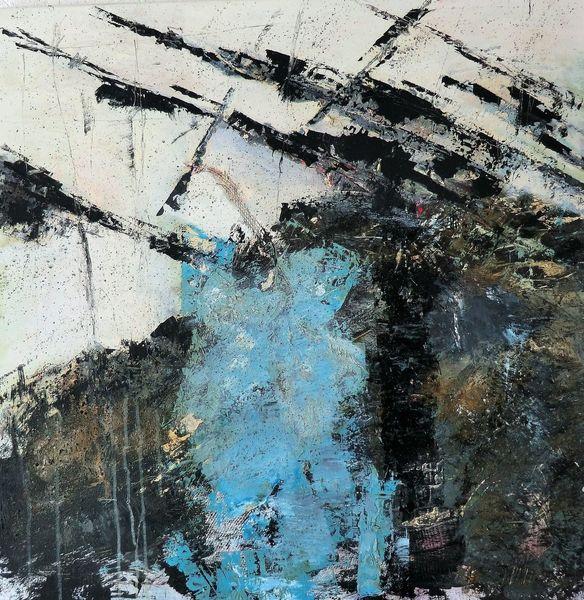 Abstrakte landschaft, Schwarz, Nicht gegenständlich, Weiß, Moderne malerei, Blau
