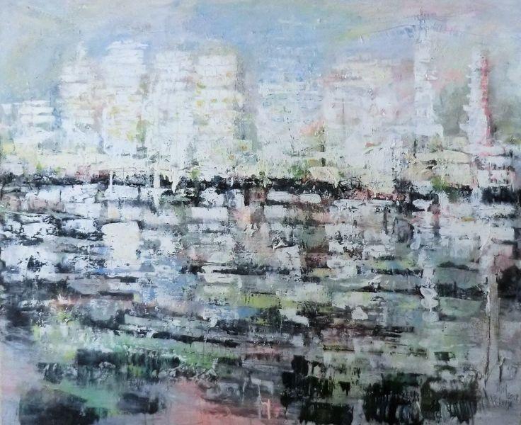 Abstrakte landschaft, Malerei, Spiegelung, Moderne malerei, Nicht gegenständlich, Ozean
