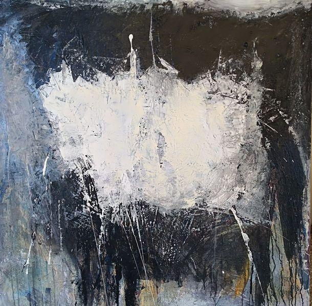 Mischtechnik, Moderne malerei, Grau, Blau, Acrylmalerei, Schwarz weiß