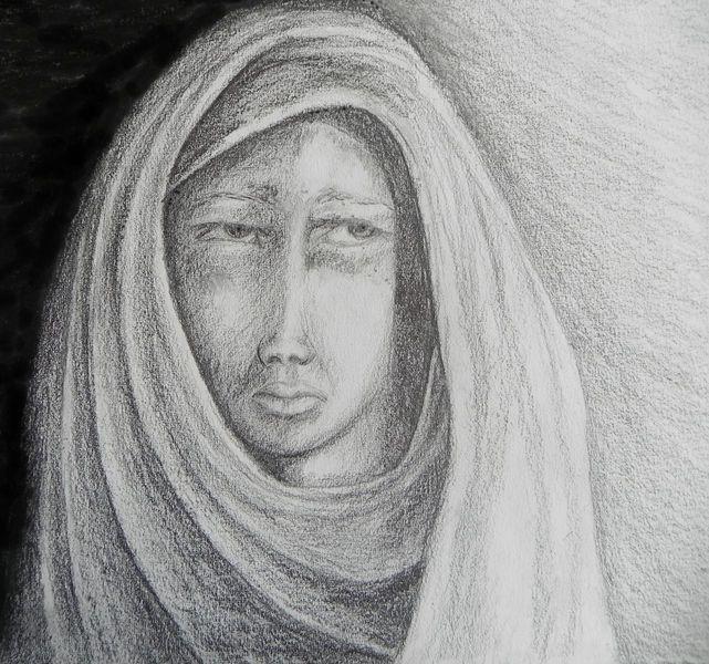 Schleier, Kopftuch, Frau, Schwarz weiß, Zeichnungen