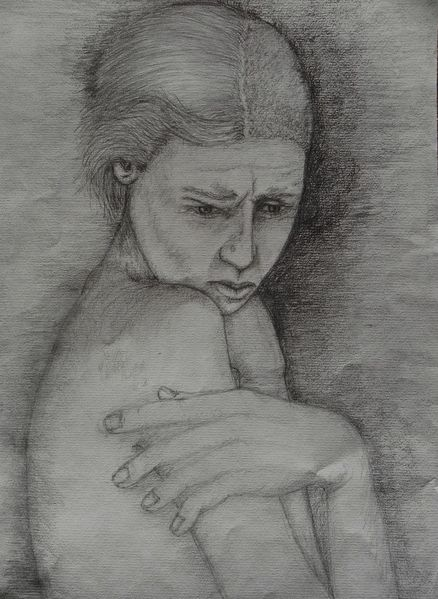 Rücken, Frau, Zweifel, Oberkörper, Zeichnungen