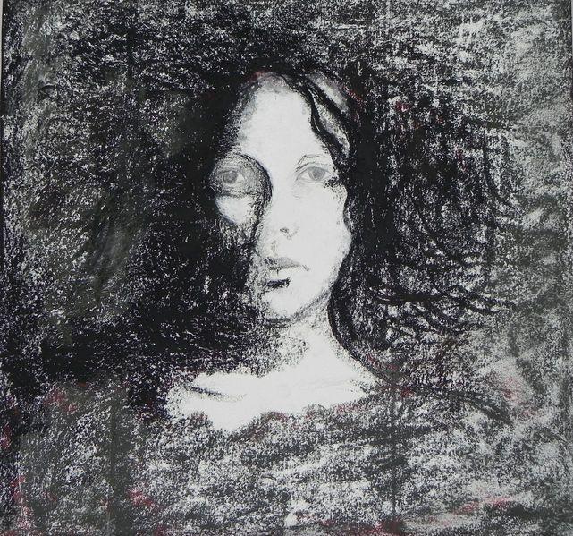 Frau, Portrait, Mädchen, Weiß, Rot schwarz, Gesicht