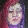 Mädchen, Rot, Gesicht, Malerei