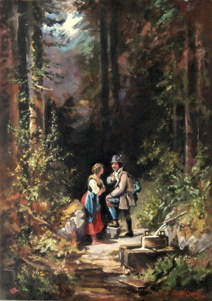 Frau, Spitzweg, Jäger, Wald, Malerei, Begegnung