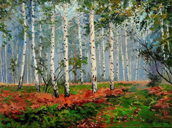 Birkenwald farnen, Malerei, Birkenwald