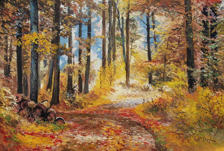 Wald, Baum, Herbst, Farben, Malerei,