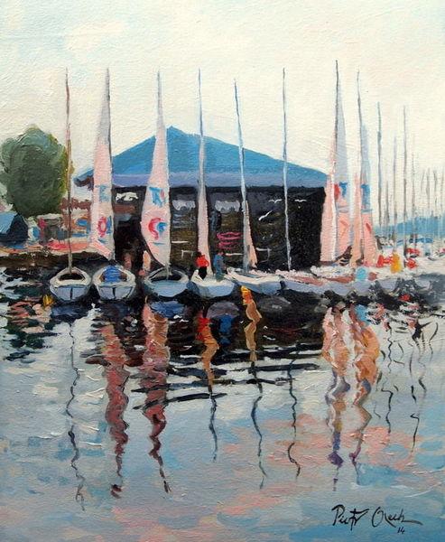See, Segelboot, Sommer, Mikolajki, Malerei