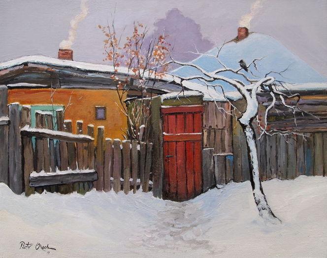 Winter schnee bauernhäuser, Malerei, Winter
