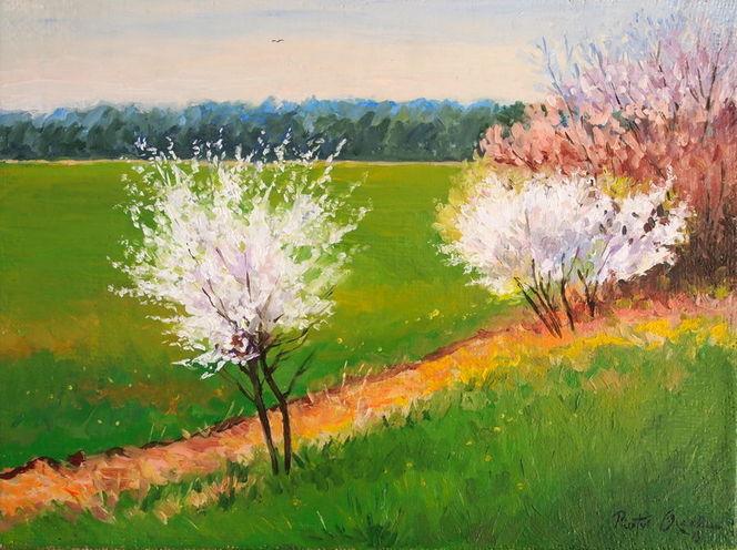 Feld, Baum, Blumen, Frühling, Wald, Malerei