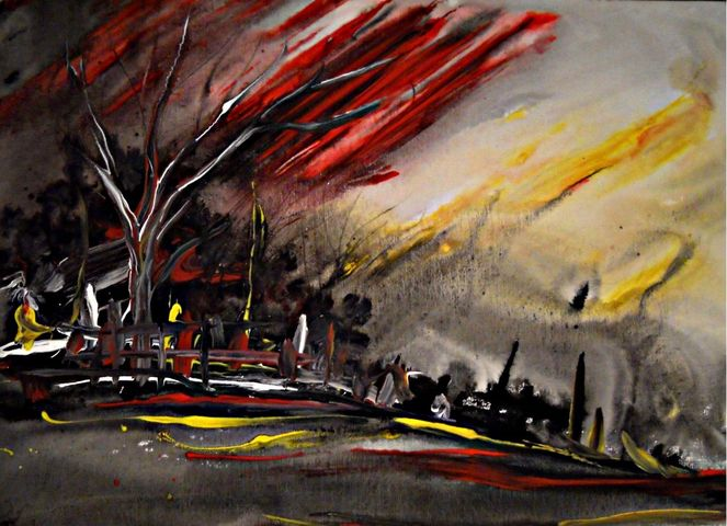 Malerei, Abend, Ölmalerei, Zeitgeist, Sonnenuntergang, Acrylmalerei