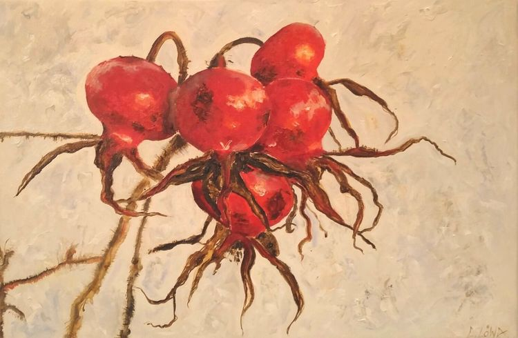 Rot, Schnee, Hagebutte, Winterzeit, Malerei