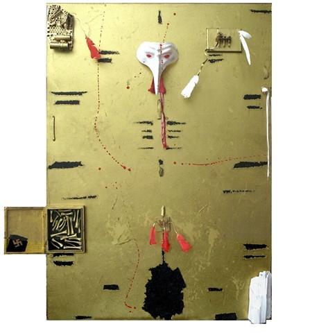 2014, Gold, Weisse maske, Ehre, Mischtechnik, Maske