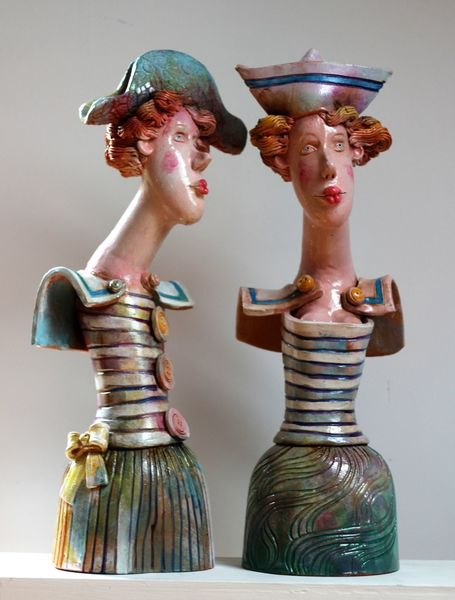 Ceramic artistic, Frau, Skulptur, Kunsthandwerk,