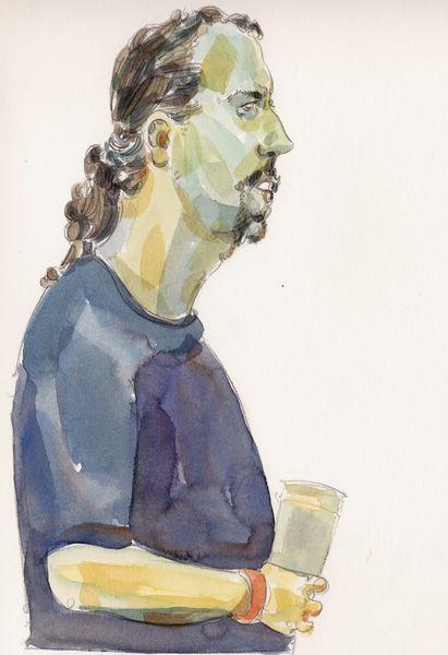 Mann, Bier, Profil, Zeichnungen
