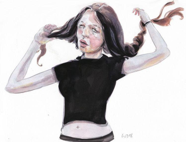Mädchen, Illustration, Haare, Malerei