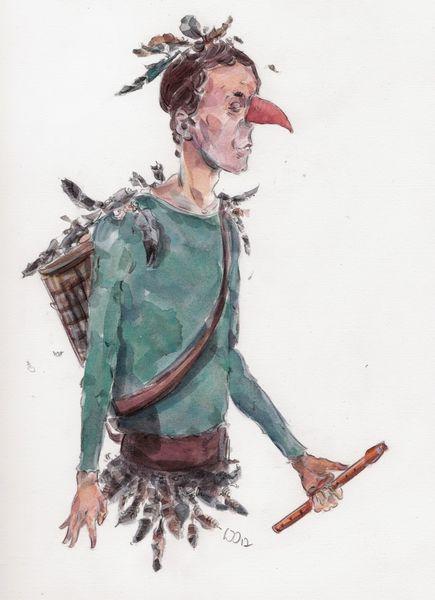 Papageno, Oper, Vogel, Feder, Zeichnungen