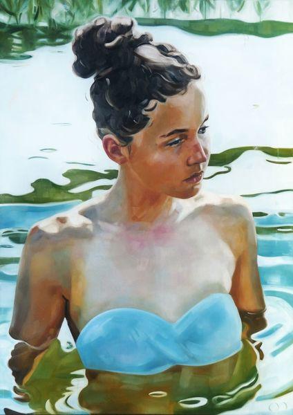 Haut, See, Sommer, Malerei