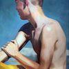 Junge, Licht, Strand, Malerei