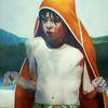 Kind, Portrait, Junge, Malerei