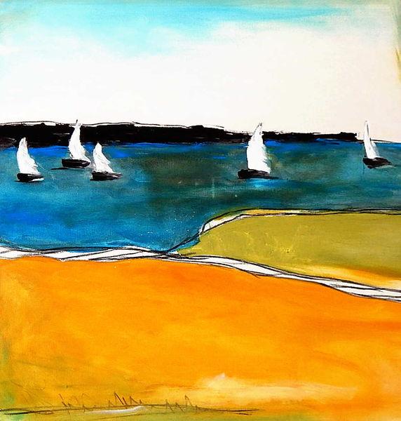 Gelb, Acrylmalerei, Blau, Malerei, Boot, Segelschiff