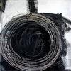 Einzelstück, Acrylmalerei, Schwarz weiß, Kreis